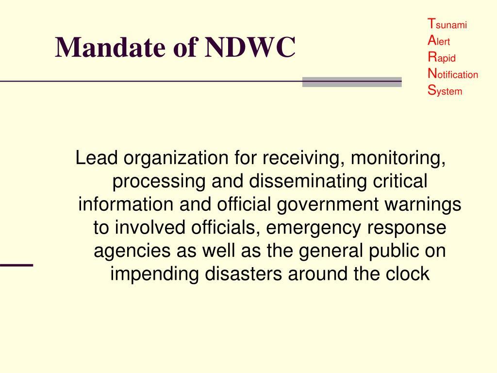 Mandate of NDWC