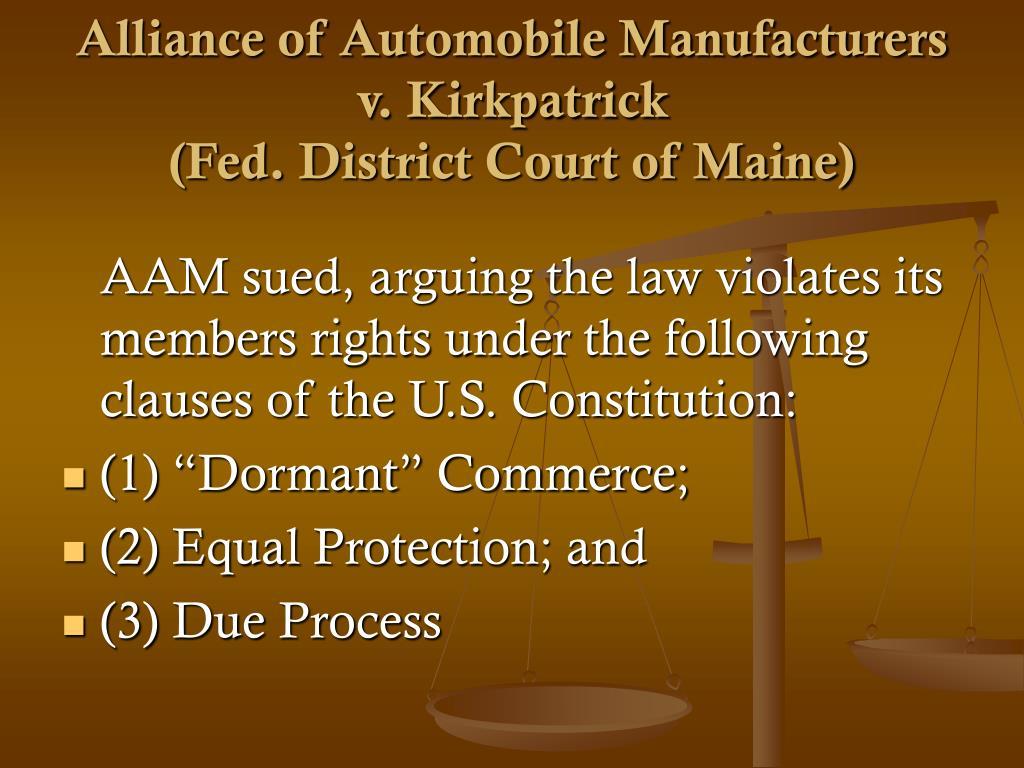 Alliance of Automobile Manufacturers v. Kirkpatrick