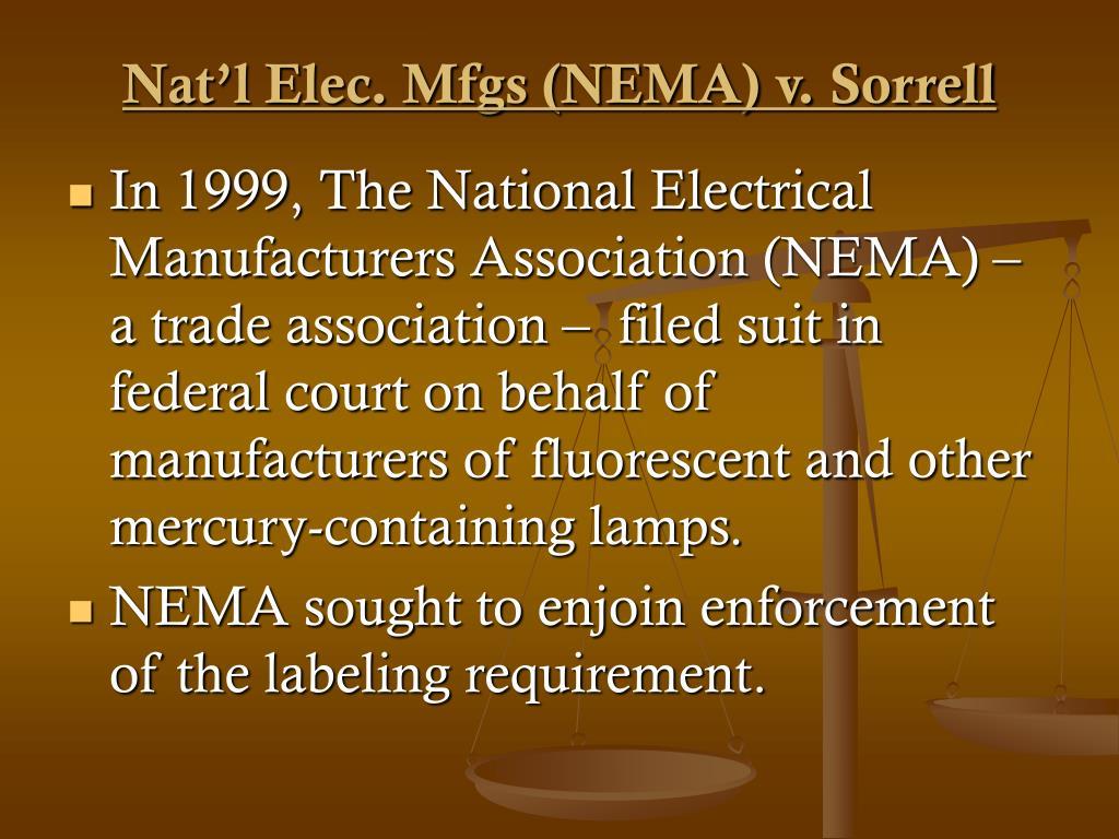 Nat'l Elec. Mfgs (NEMA) v. Sorrell