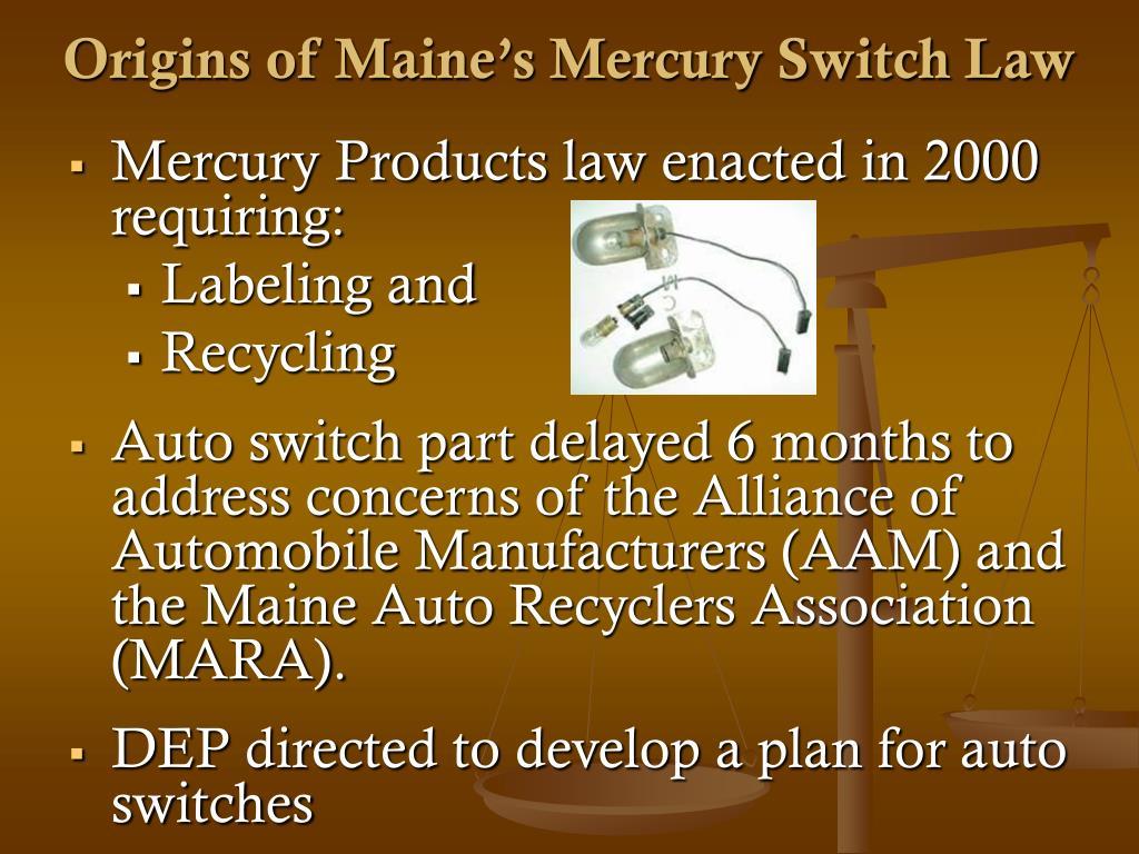 Origins of Maine's Mercury Switch Law