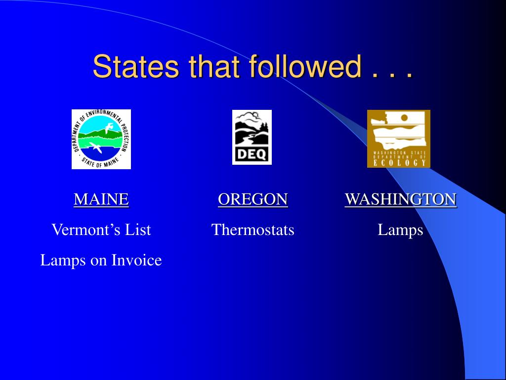 States that followed . . .
