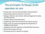 the principles te roop arahi operates on are