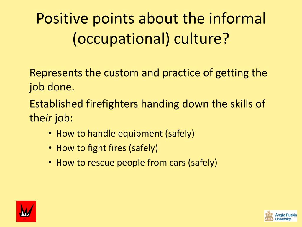Positive points about the informal (occupational) culture?
