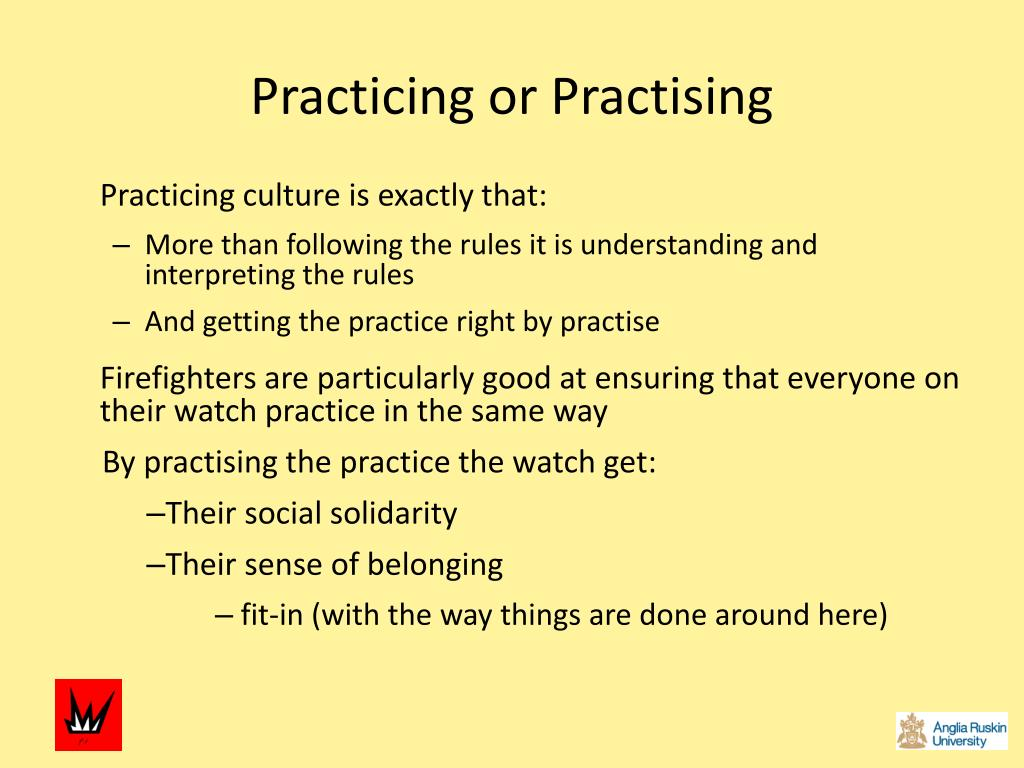 Practicing or Practising