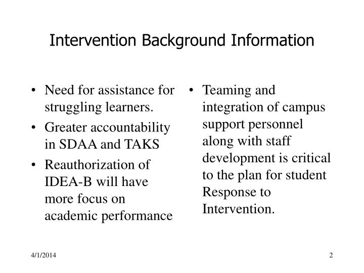 Intervention background information