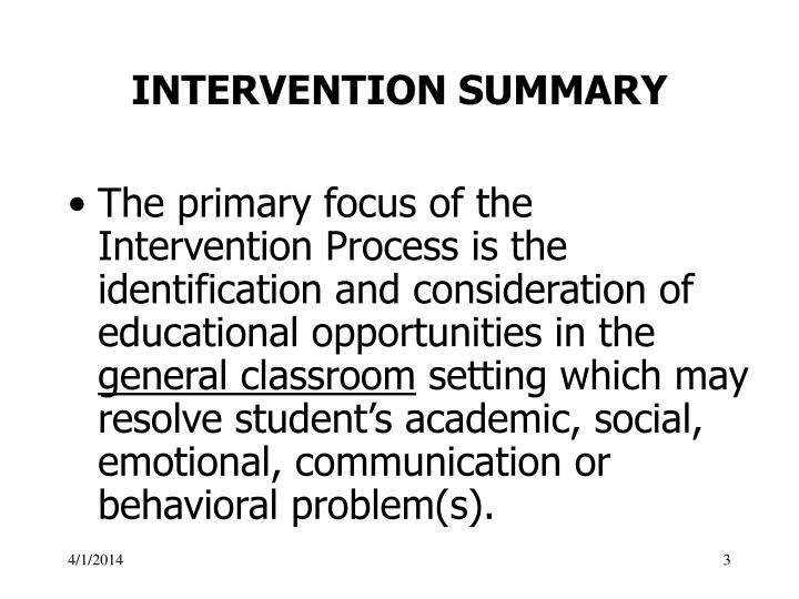 Intervention summary