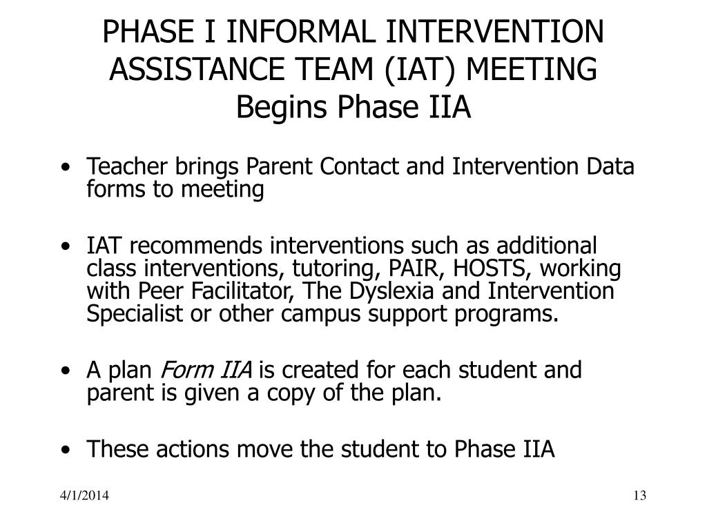 PHASE I INFORMAL INTERVENTION