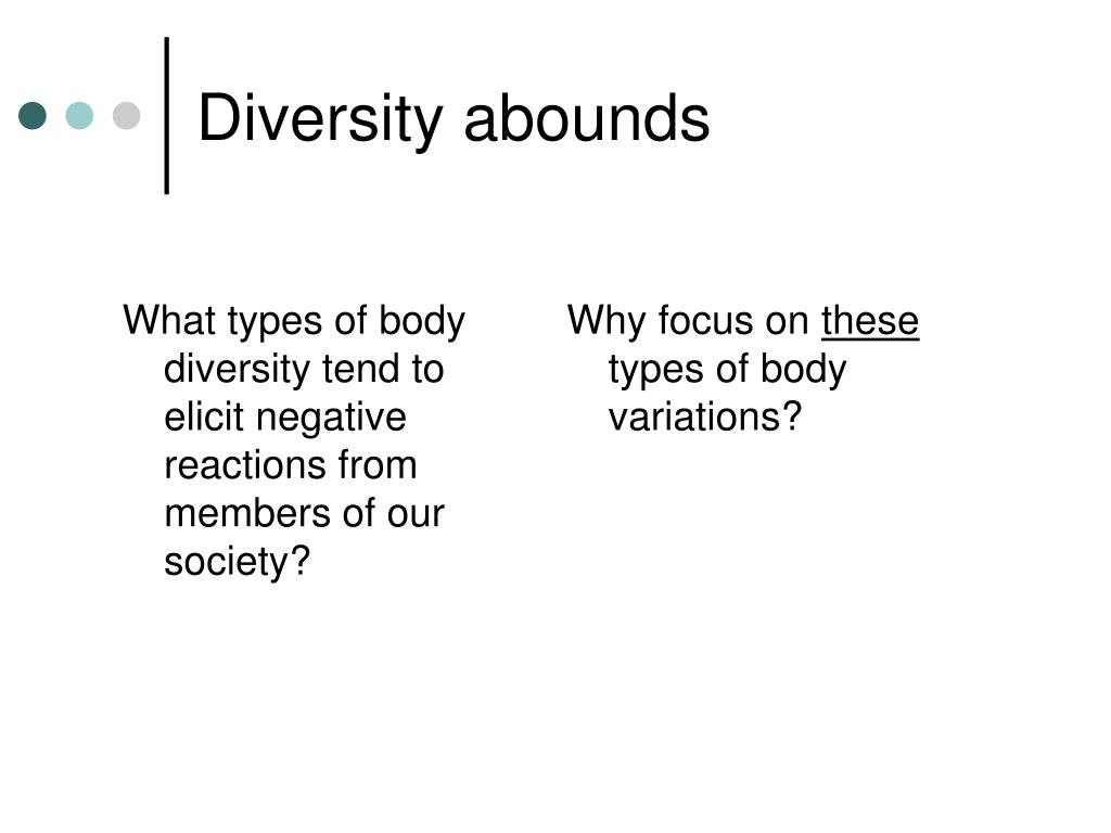 What types of body diversity tend to elicit negative reactions from members of our society?