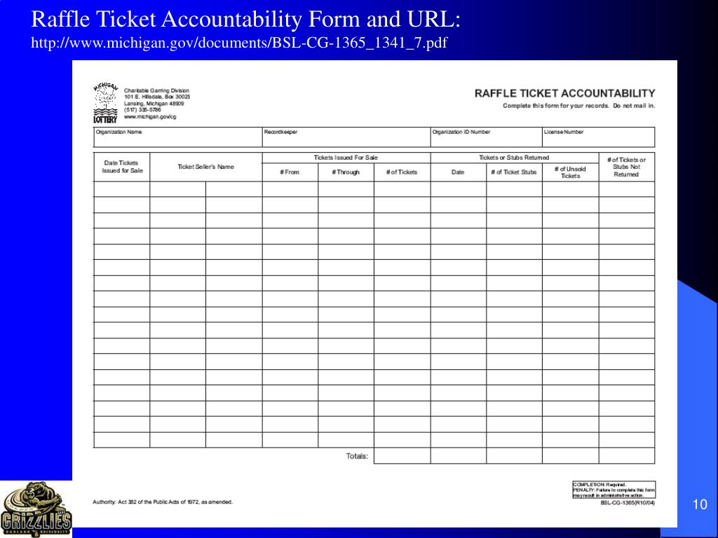 Raffle Ticket Accountability Form and URL: