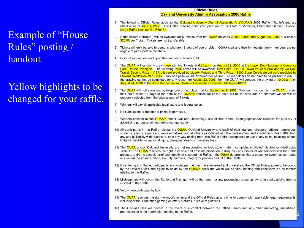 "Example of ""House        Rules"" posting / handout"