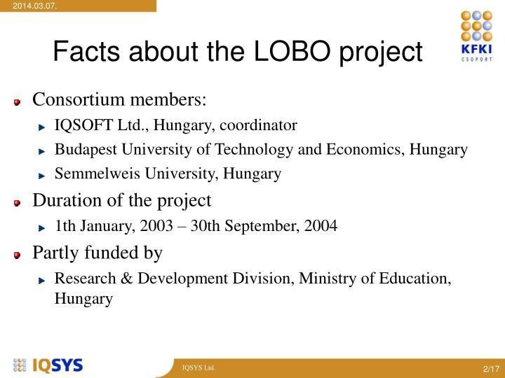 Facts about the lobo project l.jpg