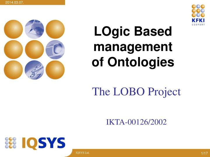 Logic based management of ontologies l.jpg