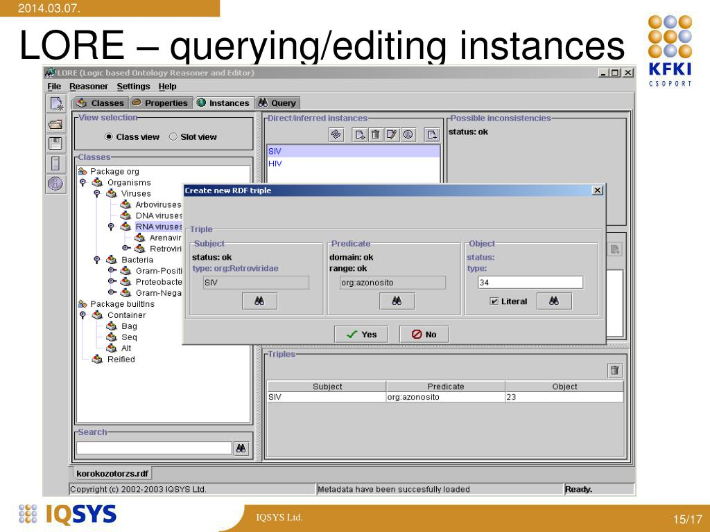 LORE – querying/editing instances