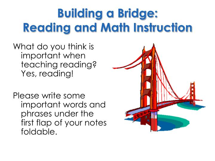 building a bridge reading and math instruction