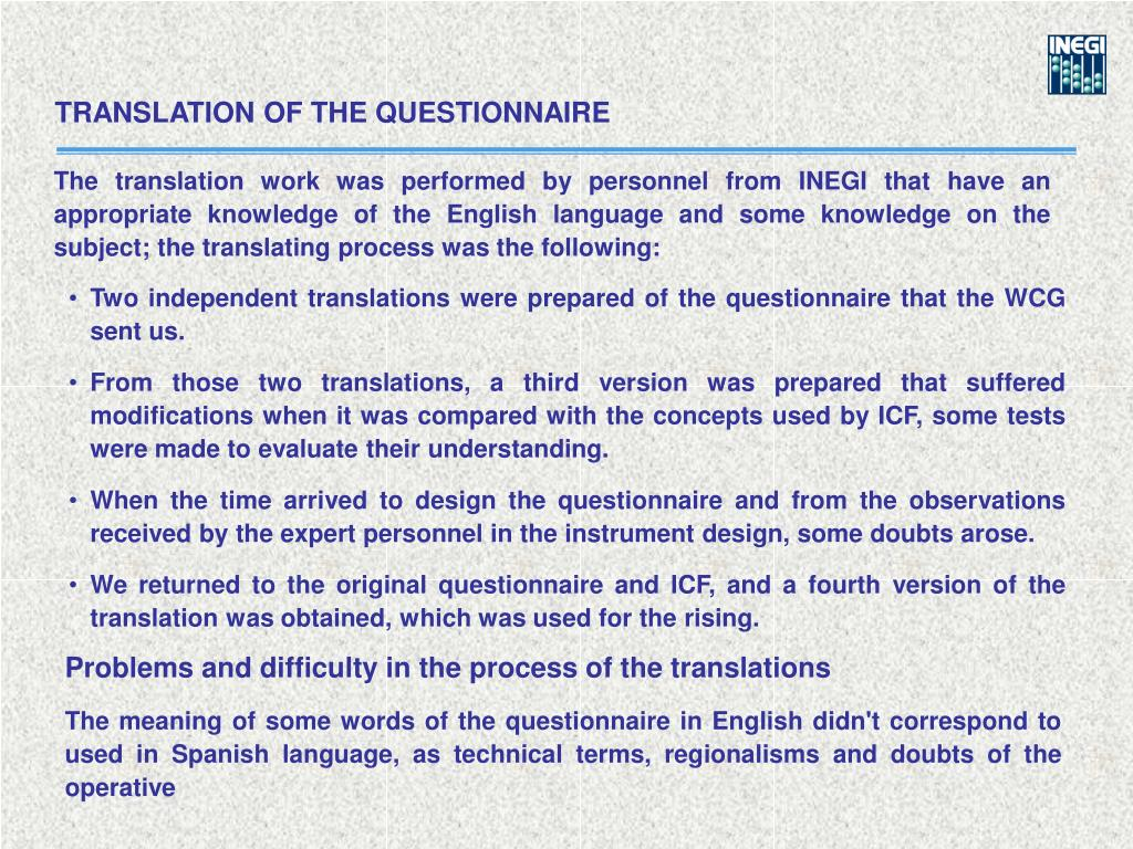 TRANSLATION OF THE QUESTIONNAIRE