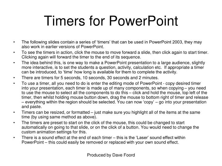 Timers for powerpoint