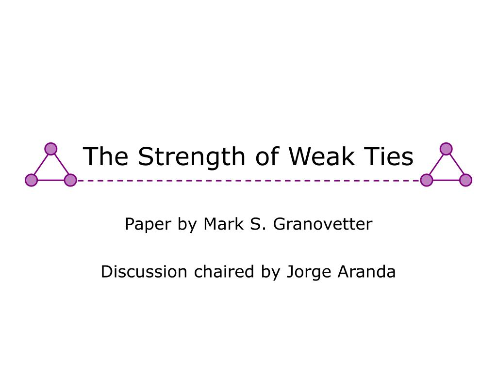 the origins and strenghts of weak ties among people according to granovetter