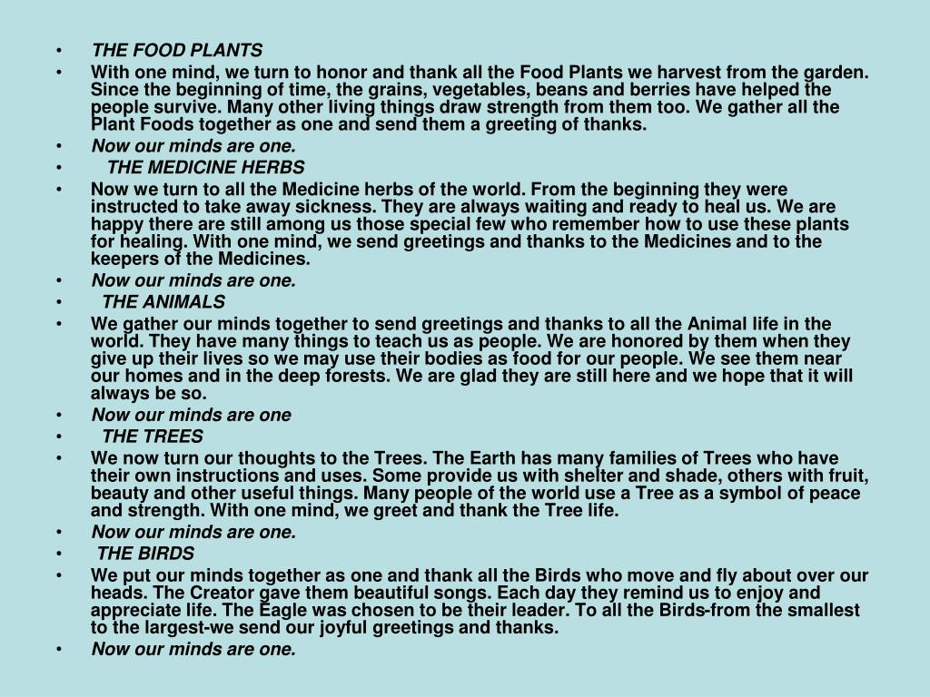 THE FOOD PLANTS