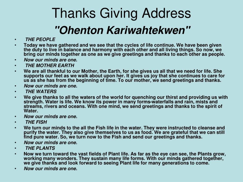 Thanks Giving Address