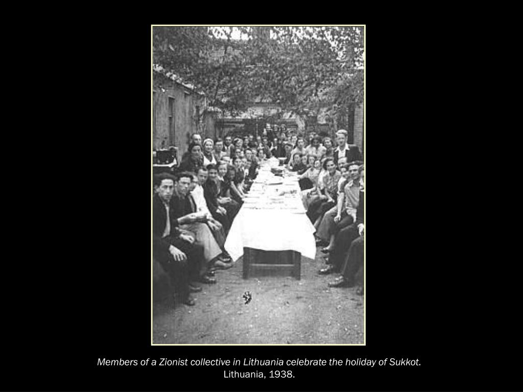 Members of a Zionist collective in Lithuania celebrate the holiday of Sukkot.