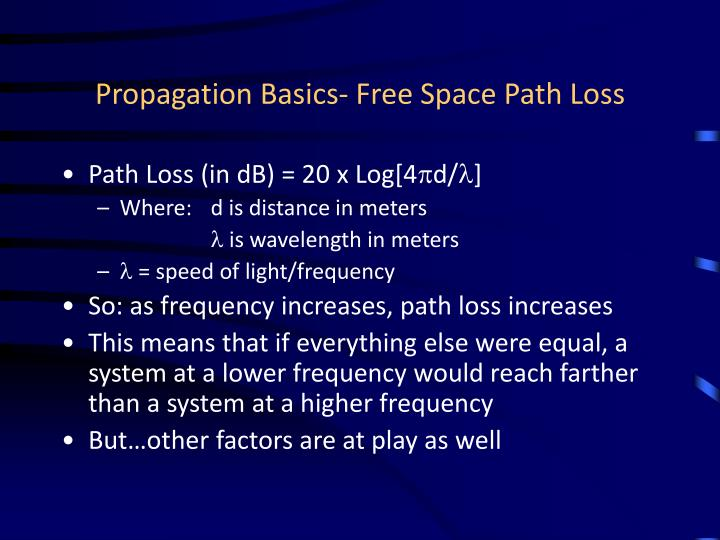 Propagation basics free space path loss