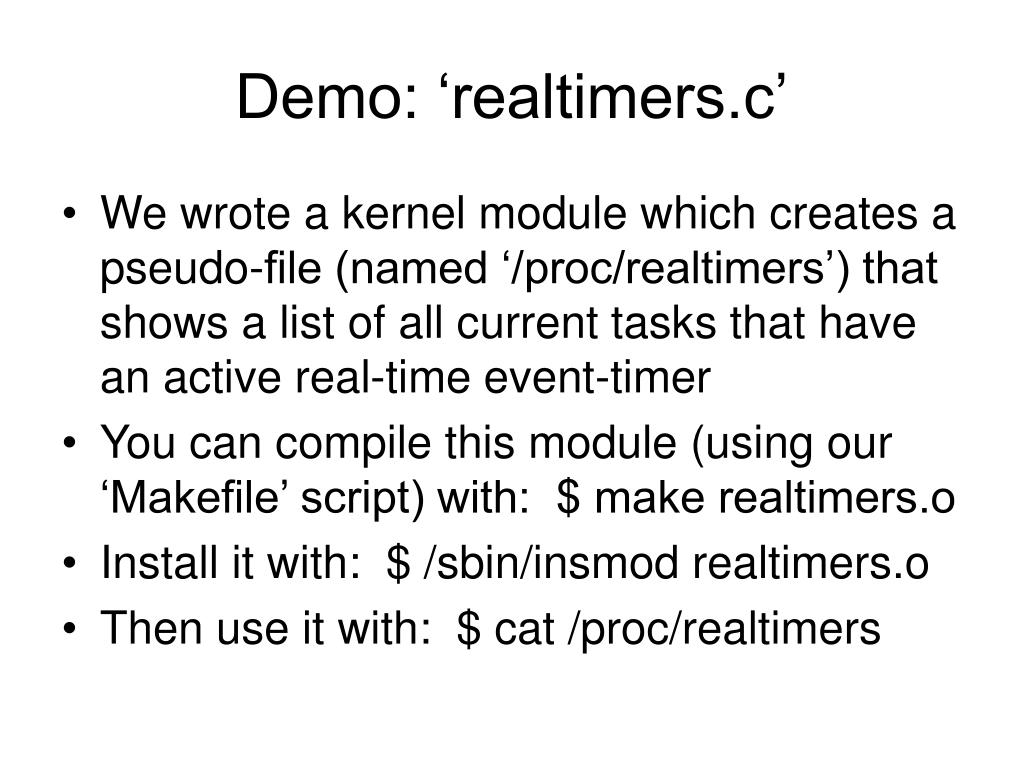 Demo: 'realtimers.c'