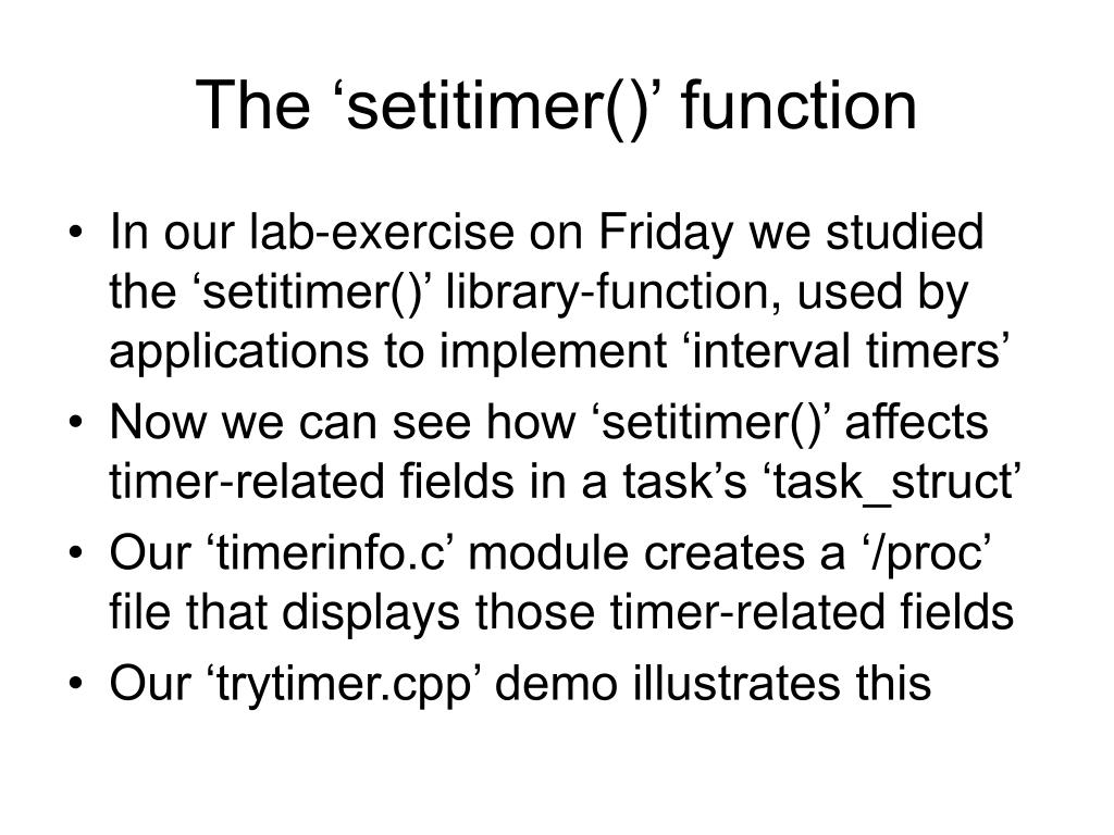 The 'setitimer()' function