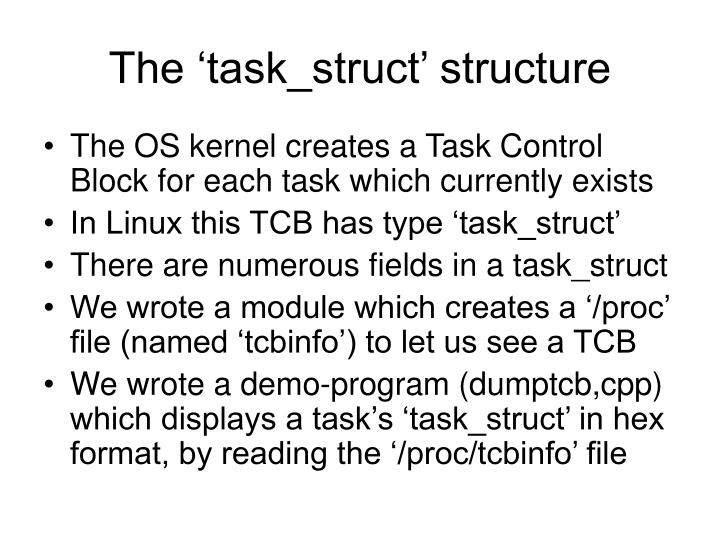 The task struct structure l.jpg
