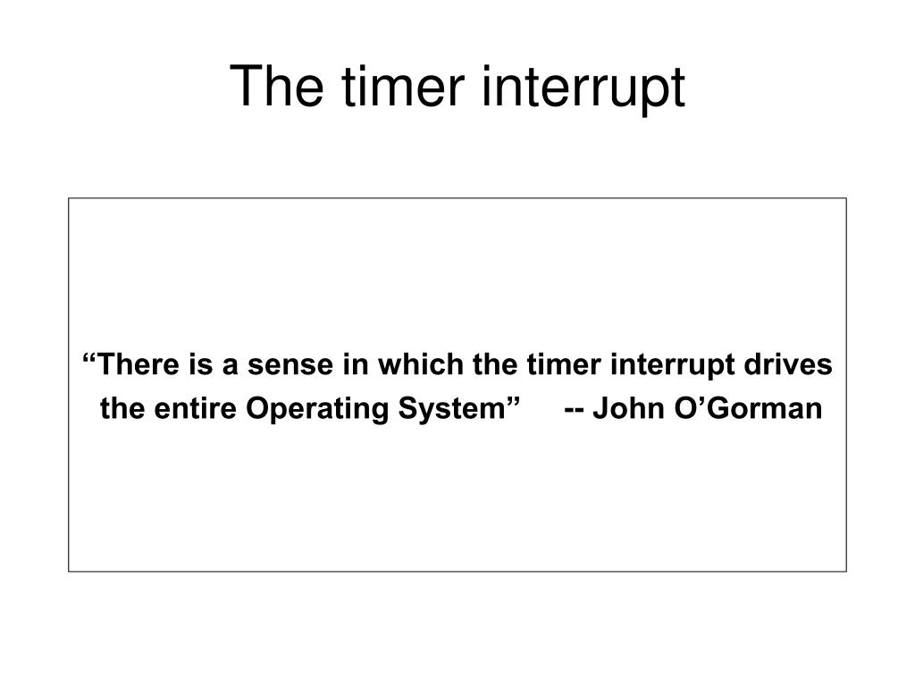 The timer interrupt