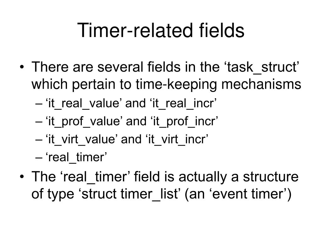 Timer-related fields