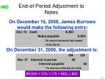 end of period adjustment to notes22