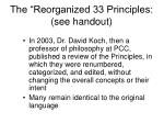 the reorganized 33 principles see handout