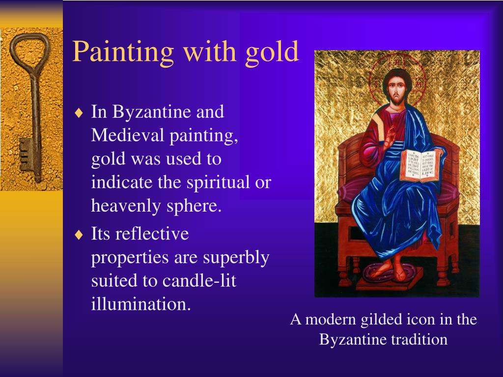 A modern gilded icon in the Byzantine tradition