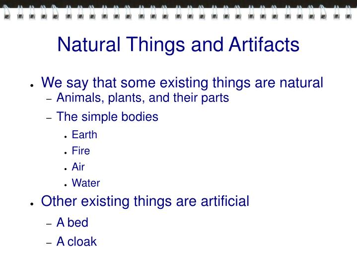 Natural Things and Artifacts