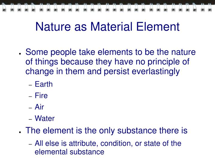 Nature as Material Element