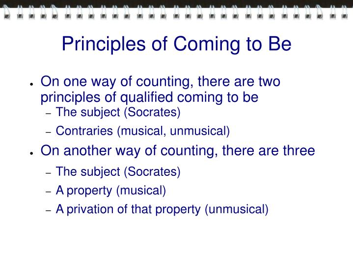 Principles of Coming to Be