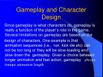 gameplay and character design