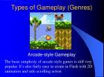 types of gameplay genres