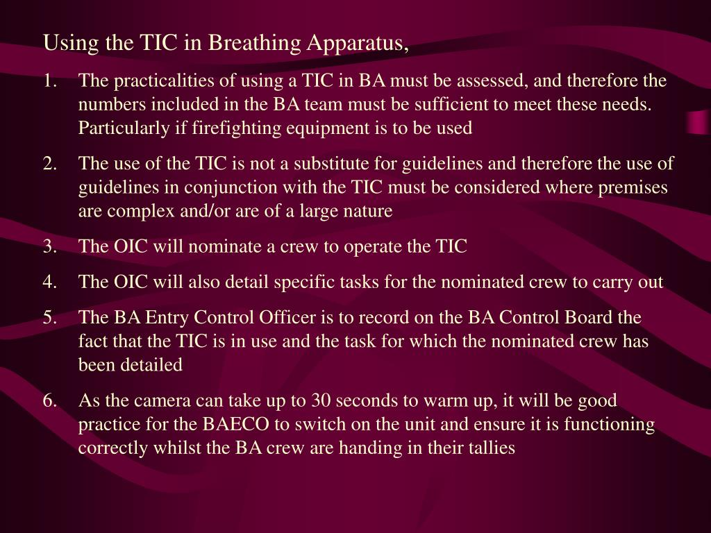 Using the TIC in Breathing Apparatus,