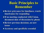 basic principles to remember