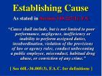 establishing cause