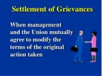 settlement of grievances