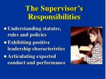 the supervisor s responsibilities