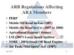 arb regulations affecting ara members