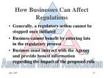 how businesses can affect regulations