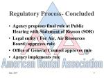 regulatory process concluded