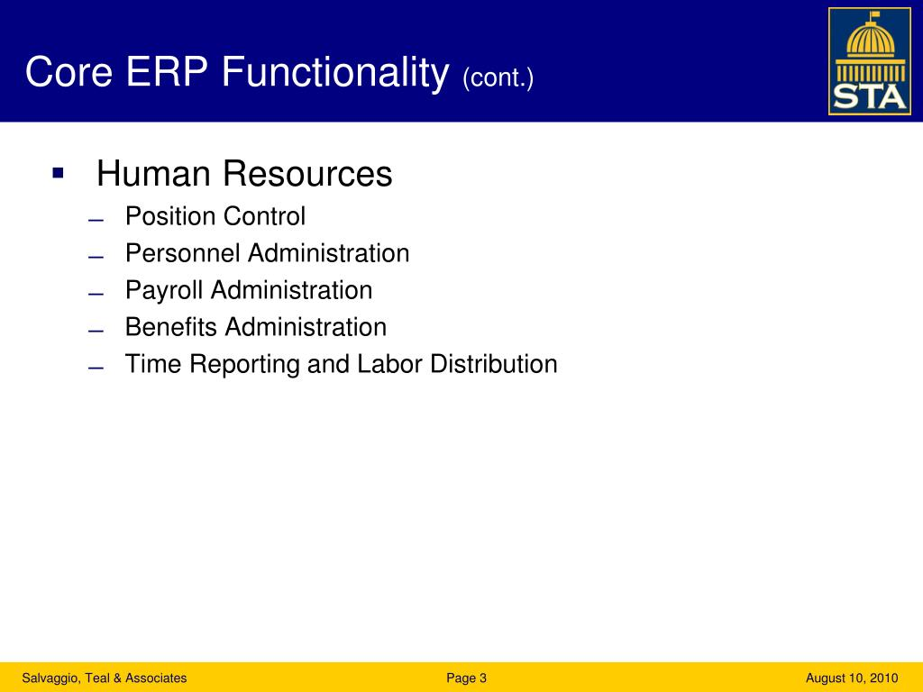 Core ERP Functionality