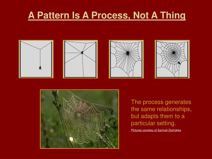 A Pattern Is A Process, Not A Thing