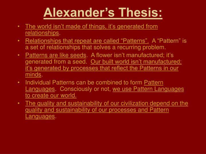 Alexander's Thesis: