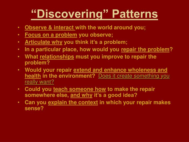 """""""Discovering"""" Patterns"""